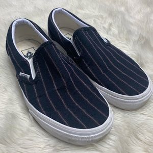 Vans x J.Crew Navy Wool Flannel Stripe Slip-on
